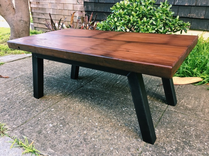 water tank redwood coffee table - ambrose woodworks